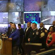 Addressing the media at Baltimore City EOC during Winter Storm Jonas with with City Leaders