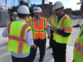 Visiting construction site of new transit hub in Baltimore