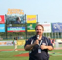 I served as an on field announcer for a minor league baseball team.