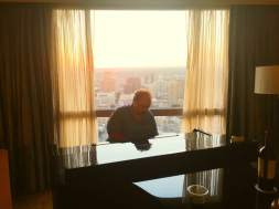 Playing piano high over San Antonio at a Conference event