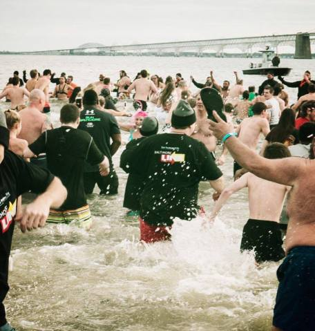 Participating in the Polar Bear Plunge - me with back to camera with Link shirt